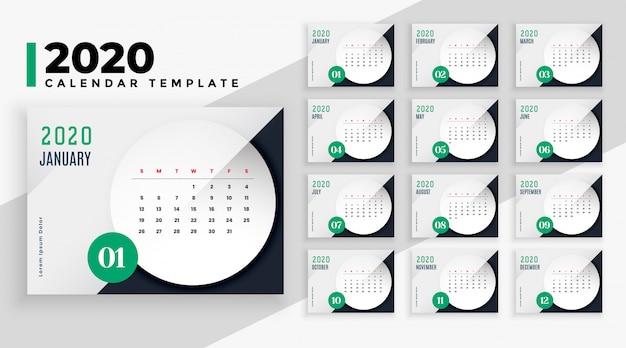 Modèle de mise en page de calendrier élégant style entreprise 2020