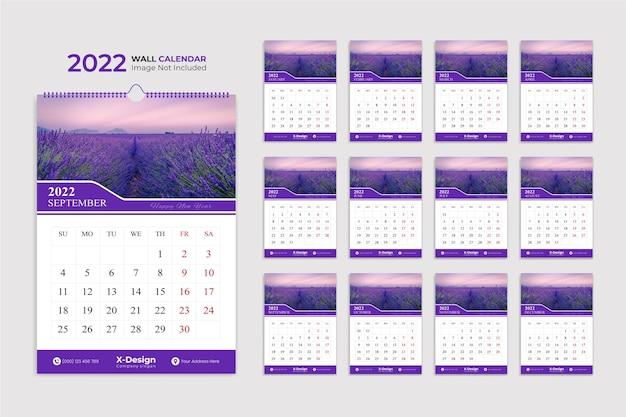 Modèle de mise en page de calendrier mural moderne 2022 planificateur de date calendrier des événements du planificateur annuel