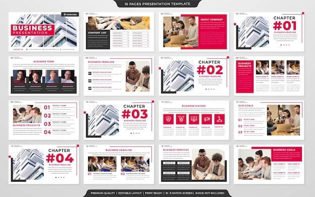 Modèle de mise en page de diapositive de présentation polyvalente vecteur premium