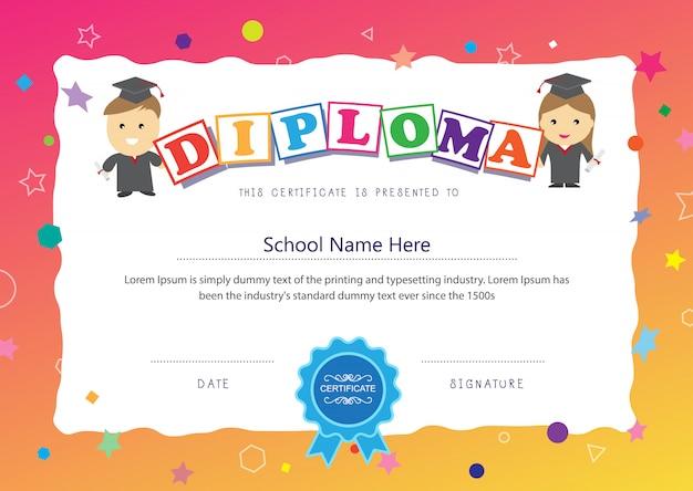 Modèle de mise en page de fond d'école de diplôme élémentaire de conception de certificat d'enfants d'âge préscolaire