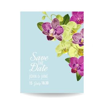 Modèle de mise en page d'invitation de mariage avec des fleurs d'orchidées.