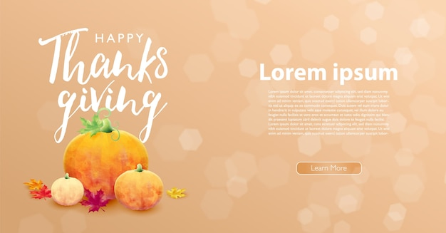 Modèle de mise en page marketing joyeux thanksgiving avec des citrouilles et des feuilles d'érable sur fond de bokeh pastel