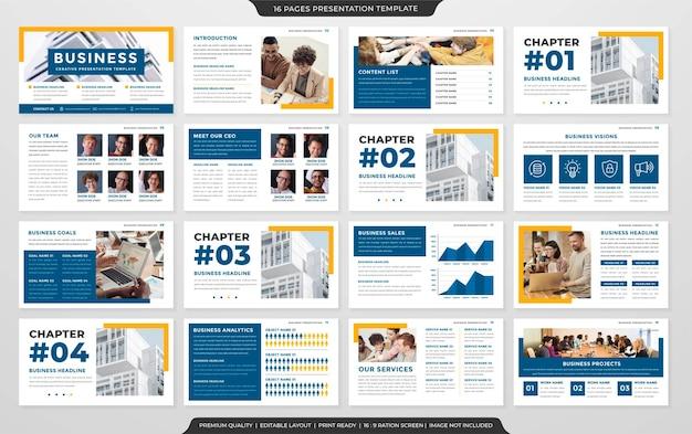 Modèle de mise en page powerpoint d'entreprise style premium