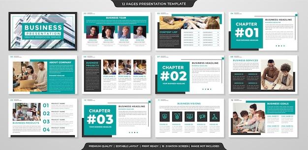 Modèle de mise en page powerpoint avec une utilisation de style propre et minimaliste pour le portefeuille d'affaires