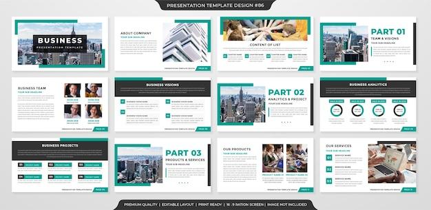 Modèle de mise en page de présentation commerciale minimaliste style premium