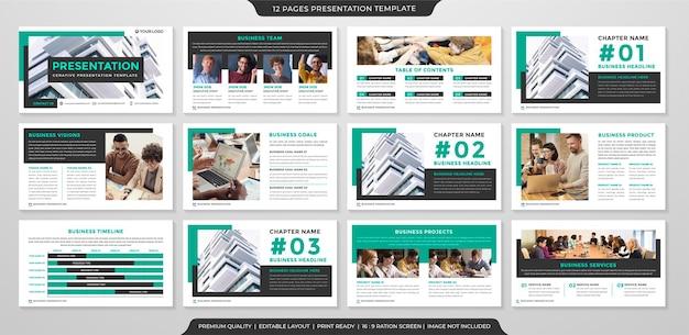 Modèle de mise en page de présentation d'entreprise avec un concept moderne et minimaliste