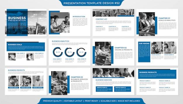 Modèle de mise en page de présentation d'entreprise minimaliste