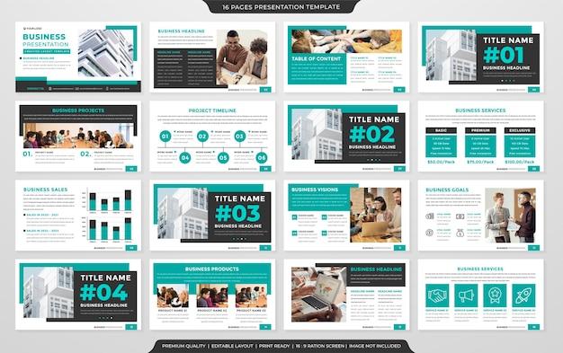 Modèle de mise en page de présentation d'entreprise vecteur premium