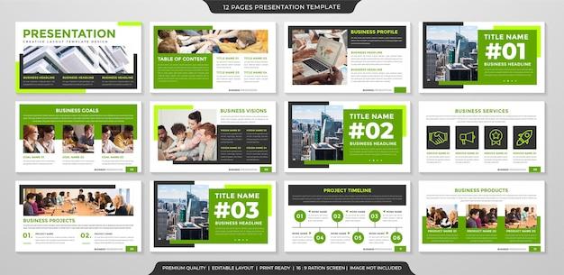 Modèle de mise en page de présentation avec utilisation de style premium pour le portefeuille d'activités et le rapport annuel