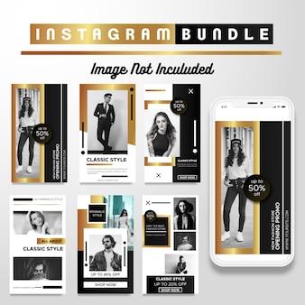 Modèle de mode de luxe instagram gold story