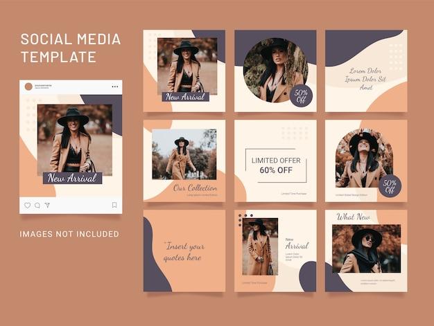 Modèle de mode puzzle de médias sociaux flux de femmes