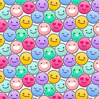 Modèle de modèle sans couture différent emojis smiley
