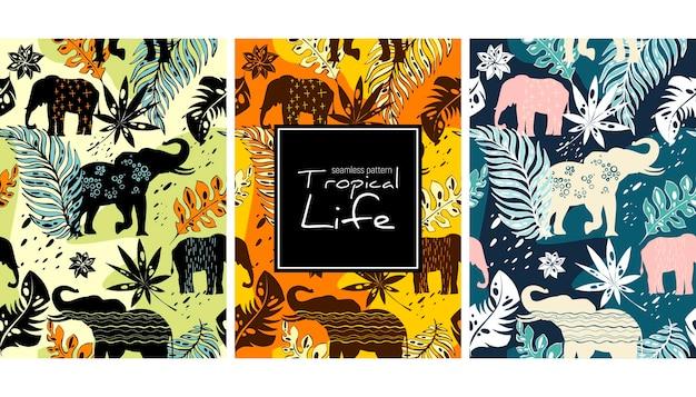 Modèle de modèle sans couture d'éléphants et de feuilles