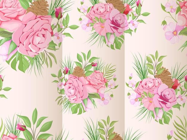 Modèle de modèle sans couture floral de noël