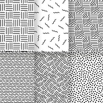 Modèle de modèle sans couture de lignes noires et blanches