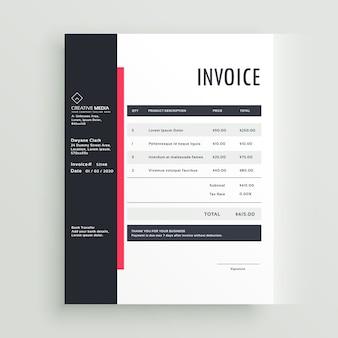 Modèle de modèle de vecteur de facture commerciale