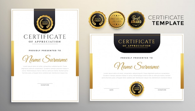 Modèle moderne de certificat d'appréciation élégant ensemble de deux