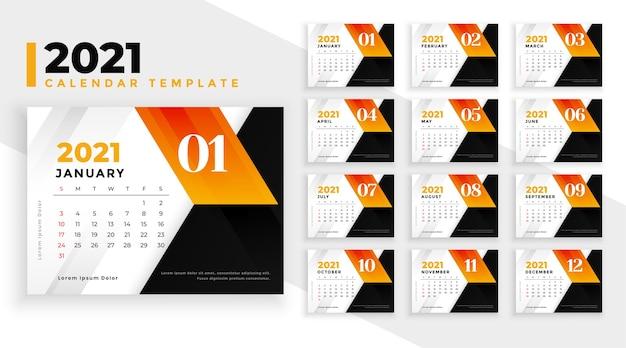 Modèle moderne de conception de calendrier abstrait nouvel an 2021