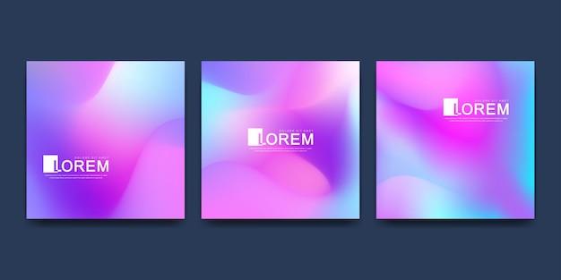Modèle moderne pour la bannière de couverture de brochure ensemble d'arrière-plans de couleurs liquides à la mode
