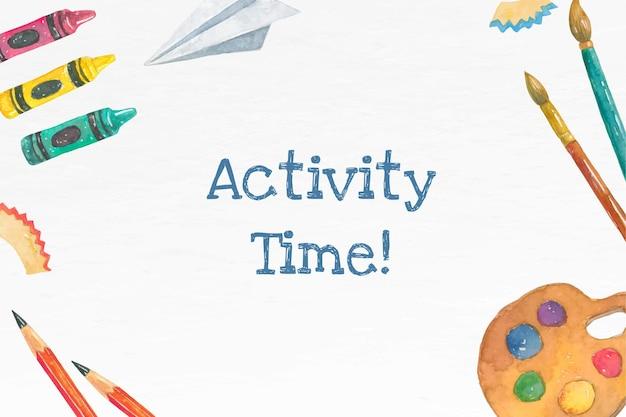 Modèle modifiable d'activités scolaires dans la bannière aquarelle de retour à l'école