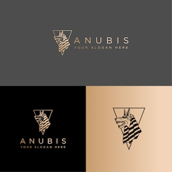 Modèle modifiable d'art de ligne de logo d'anubis de culture d'egypte