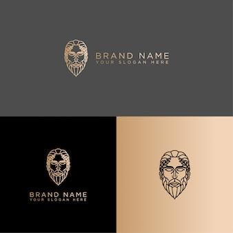 Modèle modifiable d'art de ligne de logo de mythologie classique