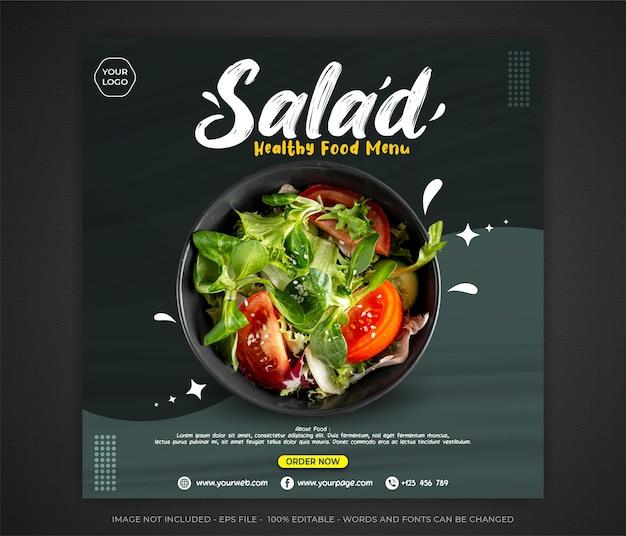 Modèle modifiable de bannière de médias sociaux après salade de nourriture