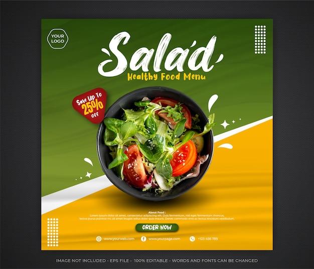Modèle modifiable de bannière de médias sociaux post nourriture salade verte