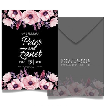 Modèle modifiable de carte d'invitation d'événement de mariage floral élégant