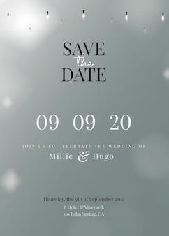 Modèle modifiable de carte d'invitation festive avec de belles guirlandes lumineuses, réservez la date