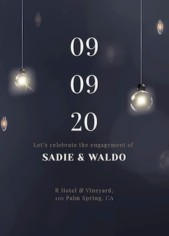 Modèle modifiable de carte d'invitation festive avec de belles guirlandes lumineuses