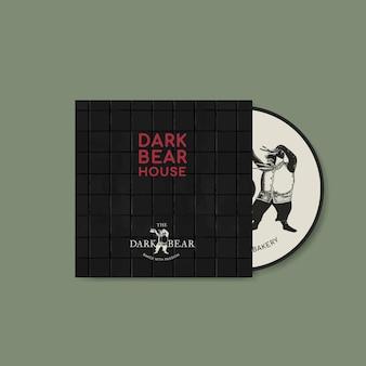 Modèle modifiable de couverture de cd dans une identité d'entreprise de ton sombre