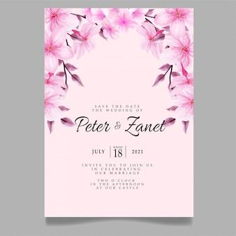 Modèle modifiable floral de fleur d'invitation d'événement de mariage d'aquarelle de beauté rose