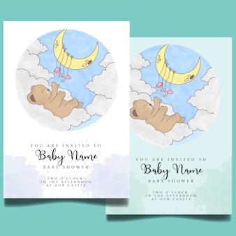 Modèle modifiable d'invitation d'aquarelle de douche de bébé mignon