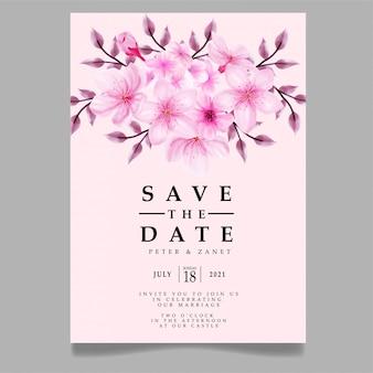 modèle modifiable d'invitation de mariage aquarelle floral