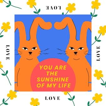 Modèle modifiable de lapin jumeau, vous êtes le soleil de ma vie