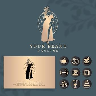 Modèle Modifiable De Logo De Femme De Luxe Vecteur Premium