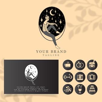 Modèle modifiable de logo de femme de luxe
