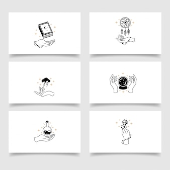 Modèle modifiable de logo de main boho élégant