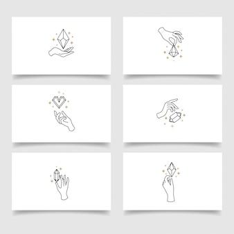 Modèle modifiable de logo de main de cristal élégant