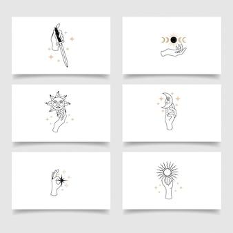 Modèle modifiable de logo de main féminine élégante