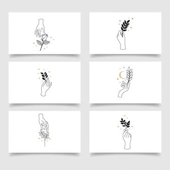 Modèle modifiable de logo de main floral élégant