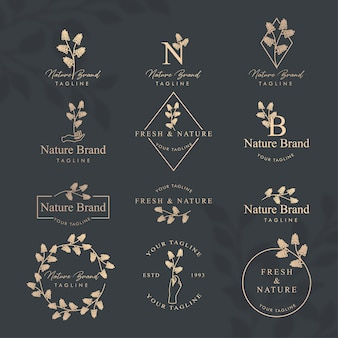 Modèle modifiable de logo nature florale