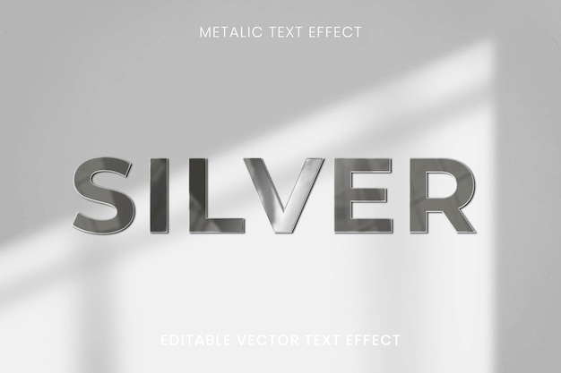 Modèle modifiable de vecteur d'effet de texte métallique