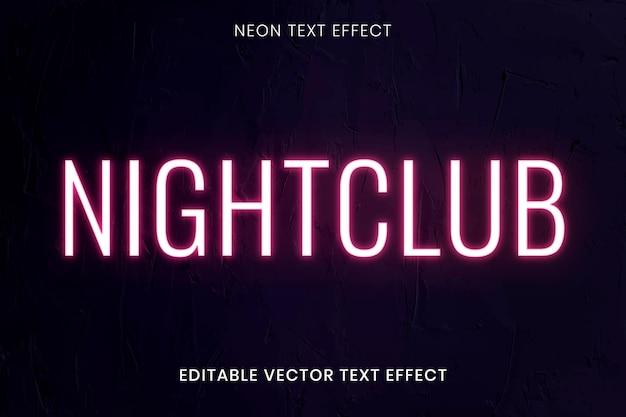 Modèle modifiable de vecteur d'effet de texte néon lueur