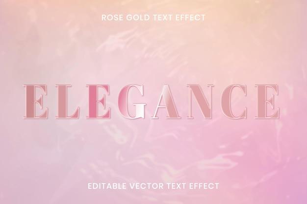 Modèle modifiable de vecteur d'effet de texte en or rose