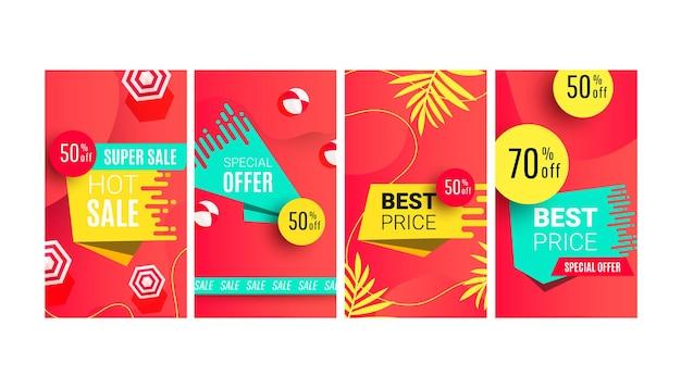 Modèle modifiable de vente d'été chaud avec des feuilles et des formes tropicales