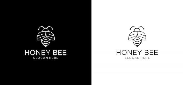 Modèle de monogramme d'abeille simple et élégant, création de logo art ligne élégante, illustration vectorielle vecteur premium