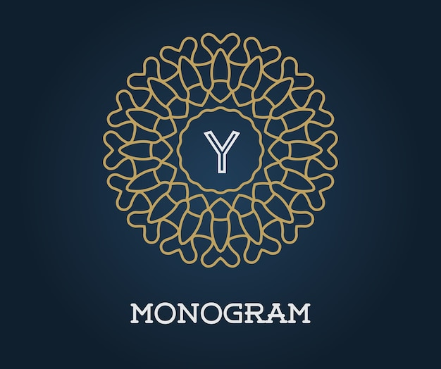 Modèle de monogramme avec illustration de lettre or de qualité élégante premium sur bleu marine