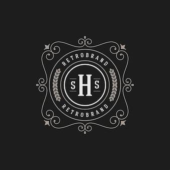 Modèle de monogramme de logo vintage élégant s'épanouit ornements avec un design de bordure de cadre orné